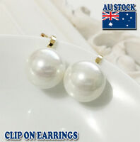 18CT Gold Plated Clip On Earrings With Cream Sea Shell Pearl
