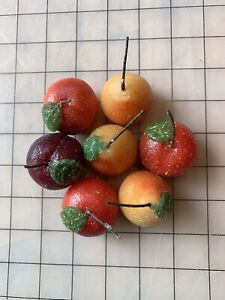 Set Of 7 Small Glittered Fruit Candles