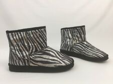 Slipper Boots Women Size 8M Union Bay Cooper-U Black Zebra Sequined Ankle Boot