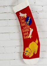 """Vintage Needlepoint Knit Christmas Stocking for Dog/Puppy """"Deck the halls."""""""