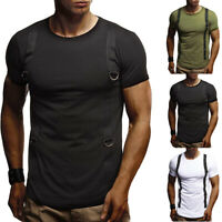 Mens Shirt Slim Crew Neck Short Sleeve Muscle Casual Summer Stretch Tee Tops