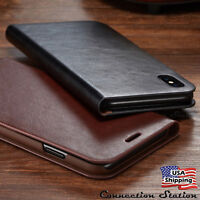 For iPhone XS MAX XR X Genuine Leather Wallet Card Slot Holder Flip Cover Case