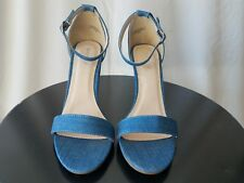 Womens high heel open toe ankle strap, Bamboo, blue denim jean color, size 10
