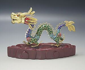 VINTAGE CHINESE  CLOISONNE ENAMEL DRAGON SCULPTURE ON STAND