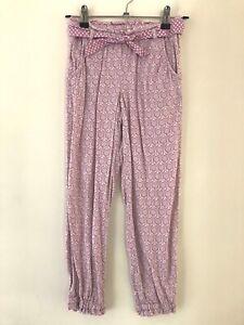 L.O.G.G H&M Girls Pants Sz 7 Purple White Boho Pockets Sash Belt EUC