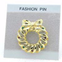 Vintage NOS Gold Tone Multi-Color Rhinestone Christmas Wreath Pin Brooch