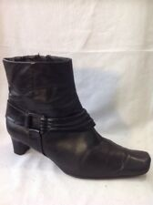 K By Clarks Wide Fit Black Ankle Leather Boots Size 7E