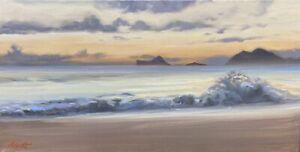 "Abbott Oil On Stretched Canvas 12""x24"" Oahu Hawaii Pre Dawn At Waimanalo Beach"
