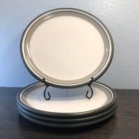 "Dansk Stacking Stripe Dinner Plate Set Of 4 Brown / Grey 10 5/8"""