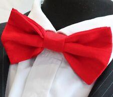 Silk Bow Tie. UK Made. Bright Red Dupion Silk Premium Quality. Pre-tied.