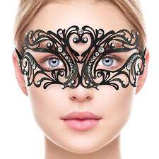 Venetian BLACK Lace Metal MASK | Masquerade Mask Clear Diamante PROM Fancy Dress