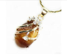 Natural 13x18mm Oval Tiger's Eye Pendant Necklace AAA Crystal Healing Chatoyant