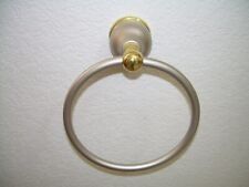 "Brass and Satin Nickel Wall Mounted Bathroom 6"" Single Towel Holder"