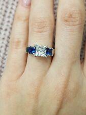 3-Stone 1 3/4 Ct Princess Cut Diamond & Blue Sapphire 925 Silver Engagement Ring