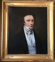 19th Century French Realism oil painting Portrait of Man in black Jacket