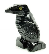 CARVED (DISCOUNT: IMPERFECT)- BLACK ONYX RAVEN (Crow) Spirit Animal Totem w/Card