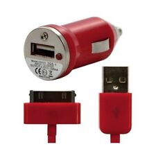 Chargeur voiture allume cigare + Cable data rouge pour Apple : iPhone 3GS / iPh