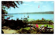 1950s Ithaca Yacht Club, Cayuga Lake in the Finger Lakes, NY Postcard