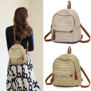 Women Mini Backpack Straw Shoulder School Rucksack Ladies Girls Travel Beach Bag