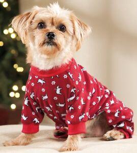 New Size XS Red with Polar Bears Dog Pajamas Sleepwear Dog Clothes Pet