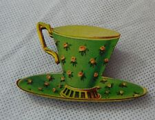 Vintage Style Green Teacup Brooch or Scarf Pin Fashion Wood Accessories NEW