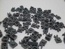 Lego 100 Bausteine mit Clip, Halterung, dunkelgrau, 1er Platte Kleinteile Neu