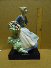 Large Rex Valencia Porcelain Figure Young Girl with Basket of Flowers Spain
