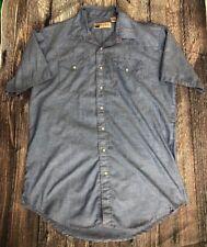 Vintage Big Mac Blue Workwear Shirt XL - XTall Pearl Snap Short Sleeve Button