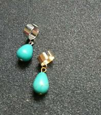 top bone ear cuff solid band silver clip on earring non-pierced turquoise bead