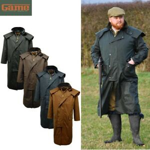 Mens Game Stockman Long Cape Horse Riding Wax Coat / Jacket