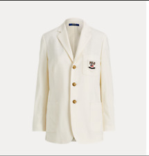 Polo Ralph Lauren Women White Wool Blend Logo Patch Blazer Size 4 NWT 698$+TAX