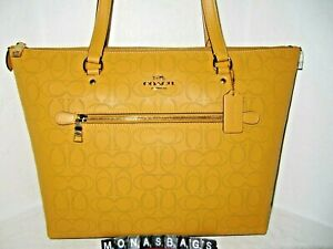 Coach 1499 Gallery Tote Bag Signature Honey Yellow Perforated Leather NWT $378