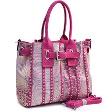New Dasein Women Croco Leather Handbag Tote Shoulder Bag Metallic Belted Purse