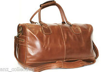 Large Chestnut Premium Genuine Leather Holdall Duffel Travel Sports Weekend Bag