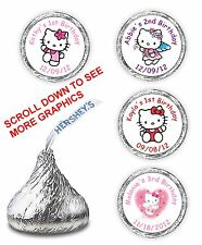 108 HELLO KITTY BIRTHDAY HERSHEY CANDY KISSES LABELS FAVORS BABY SHOWER WRAPPERS