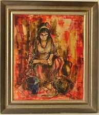 PIERRE MAS b. 1933 FRANCE MODERN SEATED WOMAN w BUCKET & JUG LISTED