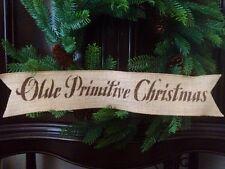 "Olde Primitive Christmas 4"" Wired Burlap Ribbon Banner Ornament Garland Sign BU"