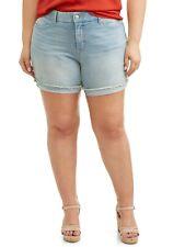 Terra e cielo Women's Plus Bermuda Pantaloncini Di Jeans sfrangiati con Risvolto Taglia 20W Lavaggio Leggero