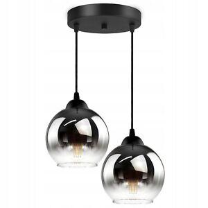 SALE Pendellampe Glas KUGEL Kuppel Hängeleuchte Retroleucht E27 2-flammig 66x