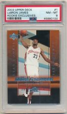 LEBRON JAMES 2003/04 UD ROOKIE EXCLUSIVES 1 RC ROOKIE CAVALIERS PSA 8 NM-MT $600