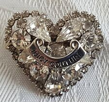 Juicy Couture logo silver rhinestone heart hair barrette clip accessory J88