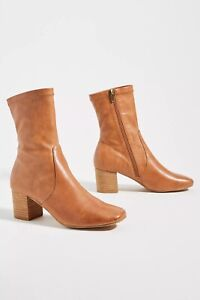 ANTHROPOLOGIE SILENT D CABRE FAUX LEATHER SHORT MID CALF BOOTS SHOES RUST 38