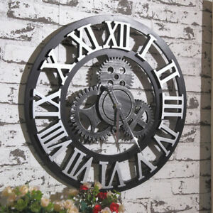 """Large Wall Clock Antique 3D Gear Retro Roman Numerals Silent Sweep 12"""" 16 inch"""