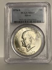 1976-S Ike Dollar PCGS Beautiful Silver MS68  with Brilliant Silver / White Hue
