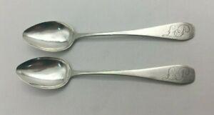 Fine Early1800 Coffin End Thomas Lee Savannah GA Southern Coin Silver Tea Spoons