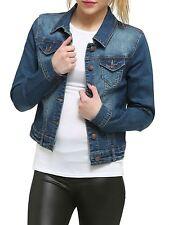 Womens Waistcoat Jacket Wash Long Sleeve Denim Vintage Stretch Jean Denim 14