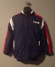 Nike Red White Blue Hooded Full Zip Front Pocket Youth XL Winter Jacket Coat