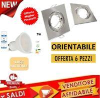 6PZ PORTA FARETTO ORIENTABILE GU10 COMPLETO GHIERA LED LAMPADA 7W 4000K SATINATO