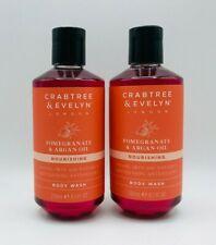2 x Crabtree & Evelyn Pomegranate & Argan Oil Nourishing Body Wash 8.5 oz