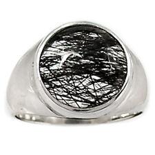 Tourmalated Quartz (Black Rutile) 925 Sterling Silver Ring Jewelry s.7 BRUR685